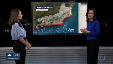 Semana começa com alerta de ressaca no Rio - Temperaturas vão subir ao longo da semana.