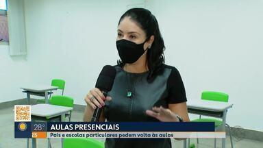 Pais e escolas particulares pedem volta às aulas presenciais em Uberlândia - Campanha tem sido intensificada na cidade. Retorno está suspenso por decisão judicial por causa da pandemia de Covid-19.