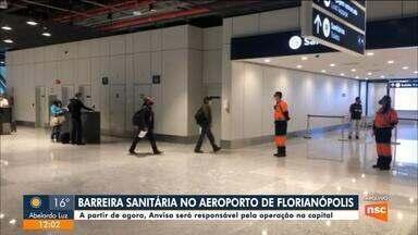 Barreira sanitária é montada em aeroporto de Florianópolis - Barreira sanitária é montada em aeroporto de Florianópolis