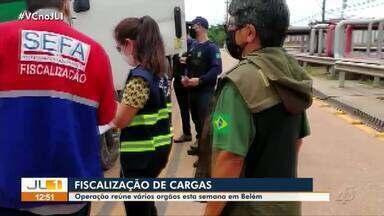 Operação de órgãos de segurança fiscaliza cargas em Belém - Operação de órgãos de segurança fiscaliza cargas em Belém.