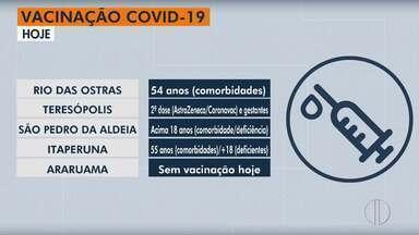 Calendário de vacinação contra Covid em Rio das Ostras, Teresópolis, São Pedro e Itaperuna - Veja se já chegou sua vez de se vacinar.
