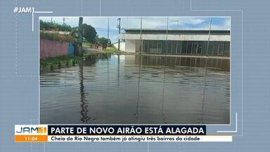 Cheia atinge três bairros de Novo Airão, no AM - Área central do município está alagada.