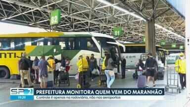 Começa a triagem sanitária na rodoviária - Exames são feitos em passageiros que chegam do Maranhão.