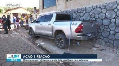 Em Altamira, dois criminosos invadem casa de empresário e atingem vítima com tiro - Apesar de ferido, homem enfrentou os criminosos, perseguiu e atropelou a dupla.
