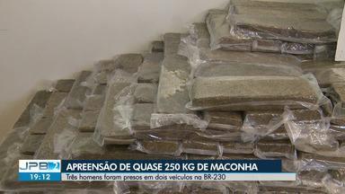 Quase 200 quilos de maconha são apreendidos em operação na BR 230 - Três homens foram presos suspeitos de tráfico de drogas. A Operação da Polícia Federal contou com apoio da Polícia Militar.