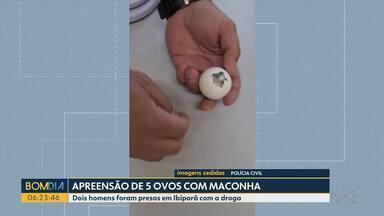 Polícia encontra ovos recheados com maconha em Ibiporã - Dois homens foram presos