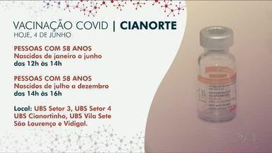 Pessoas do 58 e 59 anos do público geral começam a receber a vacina contra Covid-19 - Cianorte já está vacinando e em Paranavaí a vacinação começa na segunda-feira.