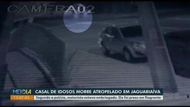 Motorista bêbado atropela idosos em Jaguariaíva - Casal estava atravessando a rua quando foi atingido pelo carro.