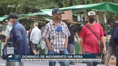 Feira Livre registra flagrantes de desrespeito às medidas sanitárias em Juiz de Fora - O funcionamento da feira foi retomado com 50% do número de barracas. Veja a reportagem.