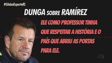 """Em áudio, Dunga critica trabalho de Ramírez no Inter: """"Precisa ter respeito pela história"""" - Ex-técnico da Seleção e do Colorado, capitão do tetra diz que é fundamental a troca de conhecimento."""