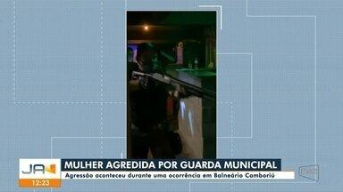 Mulher é agredida por guarda municipal durante ocorrência em Balneário Camboriú - Mulher é agredida por guarda municipal durante ocorrência em Balneário Camboriú