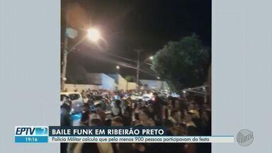 Polícia Militar encerra baile funk com pelo menos 900 pessoas em Ribeirão Preto, SP - Informações sobre a festa serão enviadas à Polícia Judiciária, que vai tentar identificar os organizadores. Eles devem responder por crime contra a saúde pública.