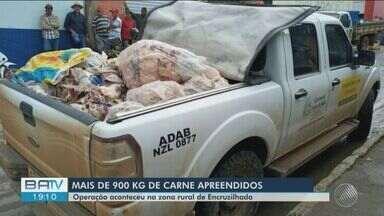 Operação apreende 900 kg de carne clandestina no município de Encruzilhada, na BA - Operação foi realizada pela Polícia Militar, Ministério Público e pela ADAB.