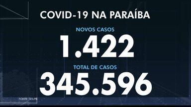 Paraíba tem 345.596 casos confirmados e 7.883 mortes por coronavírus - São 1.422 casos e 34 mortes confirmadas no boletim desta segunda-feira (7).