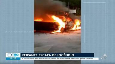 Carro de feirante fica destruído após incêndio - Confira mais notícias em g1.globo.com/ce