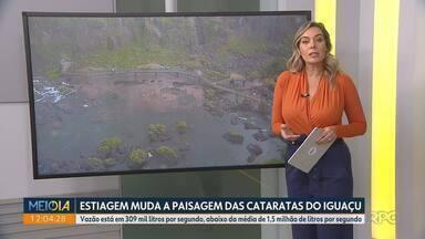 Estiagem muda a imagem das Cataratas do Iguaçu - Vazão está em 309 mil litros por segundo, abaixo da média de 1,5 milhão de litros por segundo