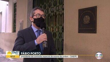 Prova da OAB acontece neste domingo, com restrições por conta da Covid - Cerca de 7.800 candidatos em Pernambuco deverão fazer o exame, seguindo o protocolo que exige uso de máscara e distanciamento, entre outros pontos.