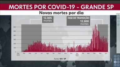 A Grande São Paulo registra 1/5 de todas as mortes da pandemia na fase de transição - Desde o dia 19 de abril foram registradas 12.300 óbitos no estado de São Paulo.
