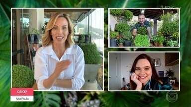 'Viva o Verde': Juliana Paiva pede ajuda para salvar seu buxinho - O engenheiro florestal Murilo Soares dá dicas para cultivar o buxinho e ensina a prepara um repelente natural para evitar que os animais de estimação façam xixi na planta
