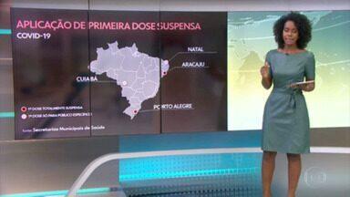 Quatro capitais seguem com problemas para aplicação da primeira dose da vacina - Duas, Porto Alegre e Aracaju, continuam sem aplicar primeira dose em ninguém; Cuiabá e Natal estão vacinando grupos específicos e pequenos