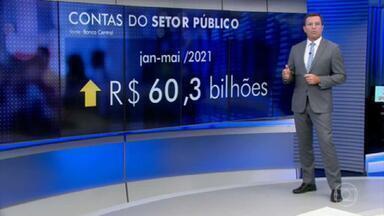 Contas do setor público registram em maio rombo de R$ 15,5 bilhões - Apesar do desempenho negativo, representa uma melhora na comparação com o mesmo mês de 2020.
