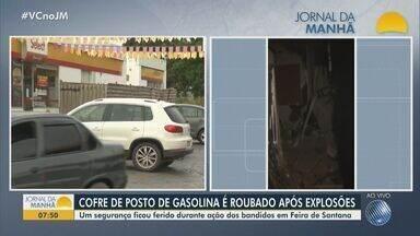 Cofre de posto de gasolina em Feira de Santana é roubado após explosões - Caso aconteceu na quarta-feira (30). Segurança, que estava de serviço quando foi baleado, foi socorrido por colegas e levado para a Unidade de Pronto Atendimento (UPA) do Clériston.