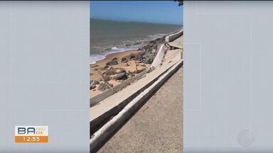 Avanço do mar destrói pista de ciclismo em Porto Seguro, extremo sul do estado - Confira.