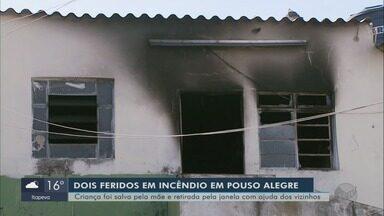 Casal fica gravemente ferido durante incêndio em casa em Pouso Alegre - Casal fica gravemente ferido durante incêndio em casa do bairro São Geraldo, em Pouso Alegre