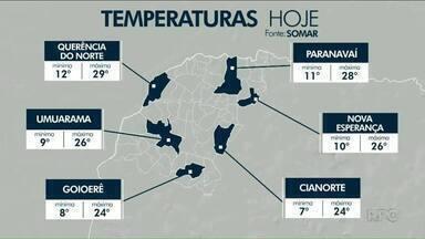 Sexta-feira deve começar com temperatura próxima dos 10 graus - Fim de semana será de temperaturas amenas.