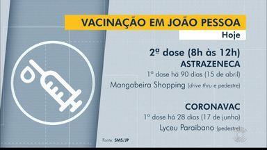 Confira o cronograma de vacinação contra a Covid-19, em João Pessoa - Veja as idades e horários de vacinação.