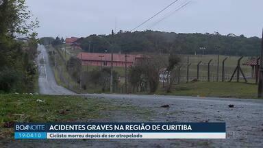 Polícia investiga dois acidentes na região da Curitiba - Na CIC. um ciclista morreu depois de ser atropelado. Em São José dos Pinhais, três pessoas da mesma família ficaram feridas, entre elas duas crianças.