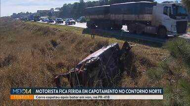 Motorista fica ferida em capotamento na PR-418 - Segundo a PRE, ela perdeu o controle da direção após se envolver em uma batida com uma van. A mulher teve ferimentos leves e foi levada ao hospital.