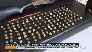 Homem engole drogas e chama a polícia para ser preso, em Francisco Beltrão - Segundo a polícia, ele contou que pretendia vender as drogas dentro da cadeia. O caso será investigado.