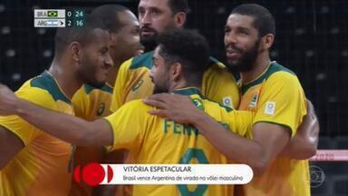 Olimpíadas: Brasil vence Argentina de virada no vôlei masculino - Terminou no começo da tarde o segundo jogo do Brasil no vôlei de quadra. O primeiro foi 3 sets a zero em cima da Tunisia. E agora, contra os argentinos, o Brasil venceu de virada depois de perder os dois primeiros sets.