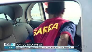 Homem é preso suspeito de furtar bicicleta infantil e vara de pesca em Vila Velha, ES - Assista.