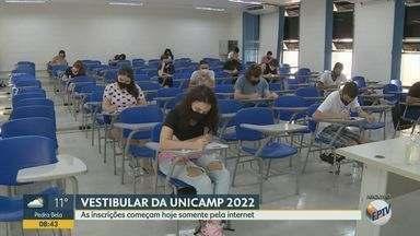 Unicamp abre inscrições exclusivas pela internet para Vestibular 2022 - São oferecidas 2.540 vagas em 69 cursos. Taxa é de R$180,00.