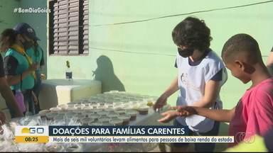 Voluntários fazem doações para famílias carentes em Goiás - Mais de seis mil pessoas participam da iniciativa; veja como se inscrever.