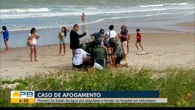 Homem de 36 anos quase se afogou e foi retirado da água por populares, em Cabedelo - O afogamento aconteceu neste domingo (8), o homem foi levado para o hospital.