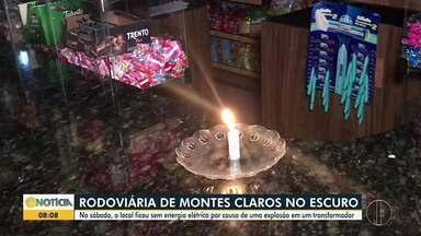 Rodoviária fica sem energia elétrica por causa de uma explosão em um transformador - Local ficou sem energia no sábado.