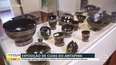 Exposição de cuias valoriza tradição e belezas do trabalho de artesãs do Aritapera - Riqueza dos detalhes das peças encanta.