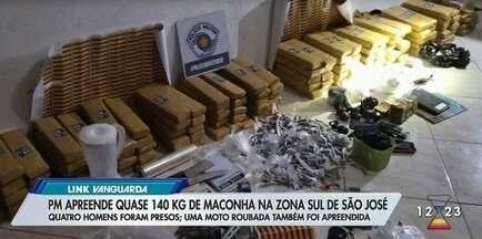 Quatro são presos com quase 140 kg de maconha em São José dos Campos - Grupo armazenava as drogas em casa no bairro Bosque dos Ipês. Com eles, a polícia ainda apreendeu R$ 14,7 mil em dinheiro e 22 celulares.