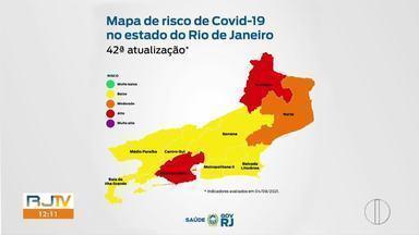 Mapa de Risco de Contaminação pela Covid-19 acende alerta para o interior do Rio - Levantamento do Governo do Estado mostra que risco de contaminação aumentou no Norte e no Noroeste Fluminense.