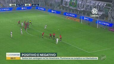 Fluminense empata pela Libertadores e Santos vence pela Sul-Americana - Time do Rio ficou no empate em 2 a 2 com o Barcelona de Guayaquil. Santos venceu jogo por 2 a 1 contra o Libertad do Paraguai.