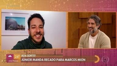 Júnior manda recado para Marcos Mion - Mion se emociona com mensagem de boa sorte do músico e conta sobre ligação que recebeu de Luciano Huck
