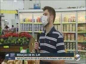 Valor de cesta básica em Araraquara diminui no mês de julho - Após 3 meses em alta, preço registrou queda.