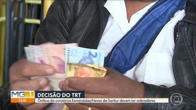 TRT determina que ônibus de consórcio da Saritur devem ter trocadores - Segundo denúncia formalizada pelo Ministério Público do Trabalho, os motoristas que operam no consórcio Esmeraldas/Neves estão acumulando funções.