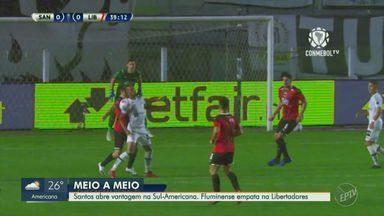Santos abre vantagem na Sul-Americana; Fluminense empata na Libertadores - Peixe venceu o Libertad por 2 a 1 na Vila Belmiro na partida pelas quartas de final do campeonato.