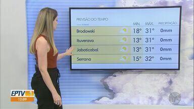 Veja a previsão do tempo para a região de Ribeirão Preto nesta sexta-feira (13) - Qualidade do ar está no nível moderado.