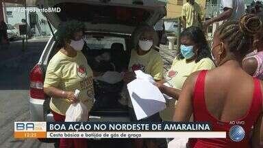 Projeto social faz doação de alimentos para moradores do Nordeste de Amaralina - Além das cestas básicas, moradores também são contemplados com botijão de gás.