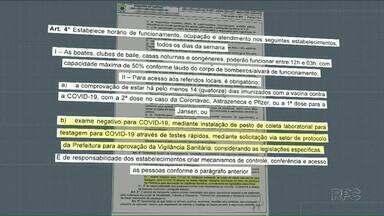 Prefeitura de Cascavel publica decreto com liberação para balada - Eventos esportivos com público também está liberado.